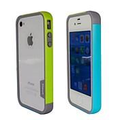 Doble de la manera del color TPU capítulo de parachoques para iPhone4S (amarillo + azul)