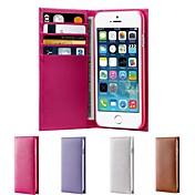 용 아이폰6케이스 / 아이폰6플러스 케이스 카드 홀더 / 플립 케이스 풀 바디 케이스 단색 하드 천연 가죽 iPhone 6s Plus/6 Plus / iPhone 6s/6