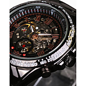 WINNER Hombre Reloj Esqueleto Reloj de Pulsera El reloj mecánico Resistente al Agua Huecograbado Taquímetro Luminoso Cuerda Automática