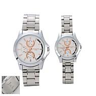 Black Case gepersonaliseerde Gift Couple's roestvrij stalen band quartz analoog horloge gegraveerd met Gift Box