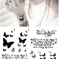타투 스티커 - Non Toxic/허리 아래/Waterproof - 애니멀 시리즈 - 아이/아동/여성/남성/어른/Teen - 그레이/블랙 - 종이 - 1 pc - 14.5*9.5cm(5.71*3.74in) -Fashion Personality Black