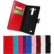 Για Θήκη LG Πορτοφόλι / Θήκη καρτών / με βάση στήριξης / Ανοιγόμενη tok Πλήρης κάλυψη tok Μονόχρωμη Σκληρή Συνθετικό δέρμα LG