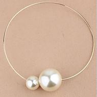 Damskie Naszyjniki choker Naszyjniki z wisiorkami Vintage Naszyjniki Perlový náhrdelník Circle Shape Perłowy Imitacja diamentu Stop Modny