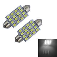 1.5W Festoon Luz de Decoração 16 SMD 3528 80-100lm lm Branco Frio DC 12 V 2 pçs