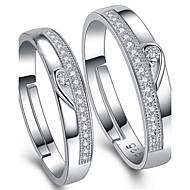 Heren Dames Ringen voor stelletjes Verstelbaar Sterling zilver Kubieke Zirkonia Sieraden Voor Bruiloft Feest Dagelijks Causaal
