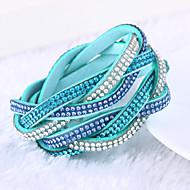 Žene Zamotajte Narukvice Jedinstven dizajn Moda Više slojeva luksuzni nakit kostim nakit Koža Umjetno drago kamenje Imitacija dijamanta