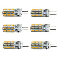 6pcs dimmable g4 1,5w 24smd 2835 100-150lm 3000k / 6000k ζεστό λευκό / δροσερό λευκό φως οδήγησε λαμπτήρα καλαμποκιού (dc12v)