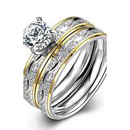 Ringen voor stelletjes Zirkonia Zirkonia Kubieke Zirkonia Ronde vorm Modieus Sieraden Bruiloft Feest Dagelijks Causaal 1 Set