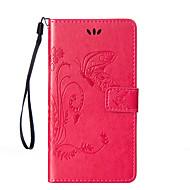 For HTC etui Pung Kortholder Med stativ Flip Præget Etui Heldækkende Etui Sommerfugl Hårdt Kunstlæder for HTCHTC Desire 820 HTC Desire