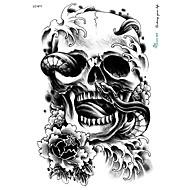 21 * 15cm grandes tatuagem grande etiqueta halloween horror crânio desenhos preto tatuagem temporária esqueleto da serpente de flores