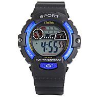 Dziecięce Sportowy LED Kalendarz Chronograf Wodoszczelny alarm Świecący Stoper Srebrzysty Cyfrowe PU Pasmo Czarny