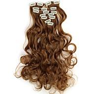 18 Inch 7pcs/set longo ondulado Synthetic grampo em extensões do cabelo com 16 Clips - 16 cores disponíveis