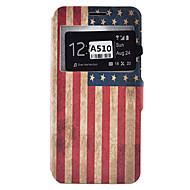 Mert Samsung Galaxy tok Kártyatartó / Ütésálló / Porálló / Állvánnyal Case Teljes védelem Case Zászló Puha Műbőr SamsungA9(2016) /