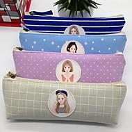 여성을위한 화장품 가방 보관 가방 캔버스 한국 문구 삼각 연필 케이스