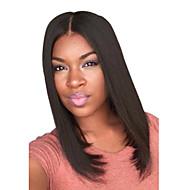 Vrouw Middel Zwart Recht Middelste stuk Bob Haircut Synthetisch haar Black Pruik Halloween Pruik Carnaval Pruik
