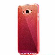 Til samsung galaxy j7 (2016) j7 solid farve blinkende blå lys pc tpu akryl tredobbelt materiale telefon taske