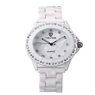 Tevise Damskie Dla par Modny Sztuczny Diamant Zegarek zegarek mechaniczny Kwarcowy Wodoszczelny sztuczna Diament Świecący Stal nierdzewna