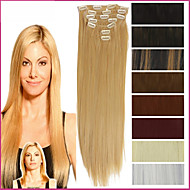 """22 """"/ 55cm 120-130g 7db / szett hőálló szintetikus póthaj Klip hosszú, egyenes haj hosszabbítás"""