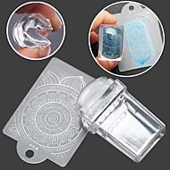rechthoekige transparante seal manicure seal template 2 stuk schraper
