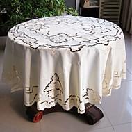 Yuvarlak Nakış Süslü Masa Örtüleri , Polyester MalzemeOtel Yemek Masası Düğün Dekorasyon Düğün Ziyafet Yemeği Noel Dekor Favor Tablo