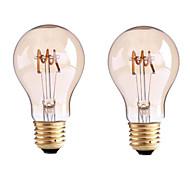 4W B22 E26/E27 LED Λάμπες Πυράκτωσης G60 1 COB 400 lm Θερμό Λευκό Με Ροοστάτη AC 220-240 AC 110-130 V 2 τμχ