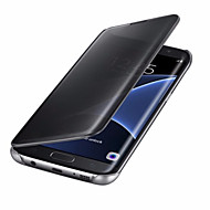 Voor Hoesje cover Automatisch aan / uit Beplating Spiegel Flip Volledige behuizing hoesje Effen Kleur Hard PC voor SamsungA7 (2017) A3