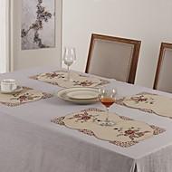Dikdörtgen Nakış Süslü Servis Altlığı , Pamuk Karışımı MalzemeDüğünler Akşam yemeği Dekor Favor Ev Dekore Etme Otel Yemek Masası Düğün