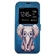 Til Etuier Kortholder Med stativ Mønster Heldækkende Etui Tegneserie Elefant Hårdt Kunstlæder for Samsung S8 S8 Plus S7 edge S7
