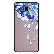 Dla samsung galaxy a5 (2017) a3 (2017) skrzynka na telefon niebieskie kwiaty wzór malowany lakier wytłaczany skrzynka na telefon peeling