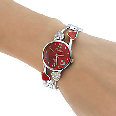 Mulheres Relógio de Moda Bracele Relógio Quartzo imitação de diamante Lega Banda Heart Shape Bracelete PrataBranco Preto Roxo Vermelho