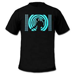 T-shirty LED Aktywowane dźwiękiem diody LED Bawełna Nowość 2 baterie AAA