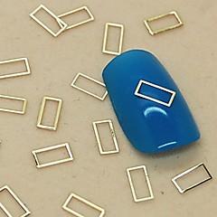 200st ihålig rektangel form gyllene metall skiva nagel konst dekoration