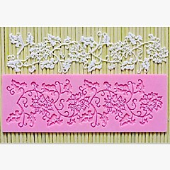 Lace Fondant Cake Chocolate Resin Clay Candy Silicone Mold Mat, L16.7cm*W6.2cm*H0.4cm(Color Random)