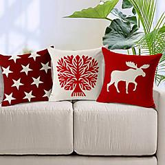 3 kpl punainen ja valkoinen puuvilla / pellava koriste tyyny