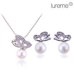 Mulheres Conjunto de Jóias Brincos Curtos Colares com Pendentes Básico Casamento Elegant bijuterias Pérola Liga Formato Animal Borboleta