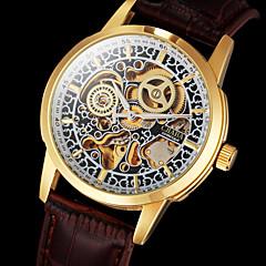 Heren Polshorloge mechanische horloges Hol Gegraveerd Automatisch opwindmechanisme Leer Band Luxueus Bruin