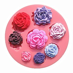 acht verschiedene Mustergröße Rosen blühen Schokoladenkuchenformen