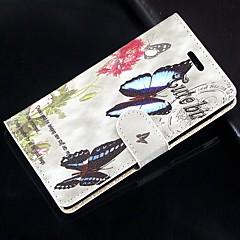 For Samsung Galaxy Note Pung Kortholder Med stativ Flip Etui Heldækkende Etui Sommerfugl Kunstlæder for SamsungNote 4 Note 3 Lite Note