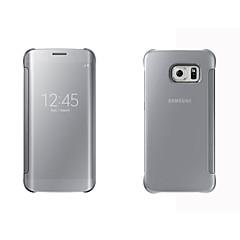 Mert Samsung Galaxy tok tokok Betekintő ablakkal Automatikus készenlét / ébresztés Tükör Flip Teljes védelem Case Egyszínű Kemény PC mert
