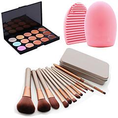 12kpl kosmeettisia meikki työkalu luomiväri jauhe poskipuna meikkivoidesivellin set laatikko + 15colors peitevoide + 1kpl harja