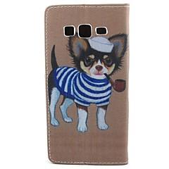 Varten Samsung Galaxy kotelo Lomapkko / Korttikotelo / Tuella / Flip Etui Kokonaan peittävä Etui Koira Tekonahka SamsungCore Prime / Core