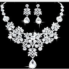 Mulheres Conjunto de Jóias Brinco Colares Statement Moda Dupla camada Bijuterias Destaque bijuterias Imitações de Diamante Caído Brincos