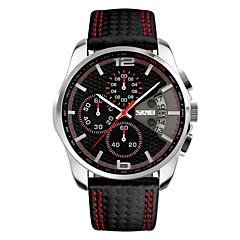 SKMEI Herrn Sportuhr Armbanduhr Japanisch Quartz Kalender Chronograph Wasserdicht Leder Band Luxuriös Schwarz
