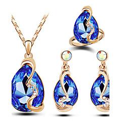 Mulheres Conjunto de Jóias Moda Jóias de Luxo bijuterias Cristal Austríaco Liga Caído Colares Brincos Anéis Para Casamento Festa Diário