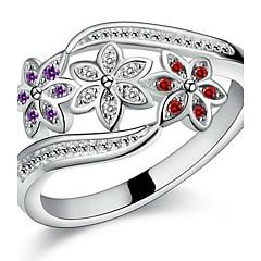 Férfi Női Páros gyűrűk Vallomás gyűrűk mandzsetta Ring Szerelem Menyasszonyi Ezüst Cirkonium Flower Shape Ékszerek Kompatibilitás Esküvő