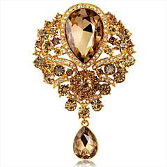 moda de luxo jóia de cristal strass gota de água das mulheres emblemas do partido pins flor / broche de casamento 1 peça