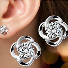 Mulheres Brincos Curtos Pedras dos signos Estilo simples Casamento bijuterias Prata de Lei Formato de Flor Jóias Para Casamento Festa