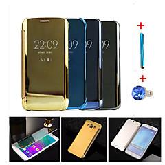 For Auto Sluk Belægning Spejl Flip Etui Heldækkende Etui Helfarve Hårdt PC for Samsung A9 A8 A7 A5 Note 5 Note 4
