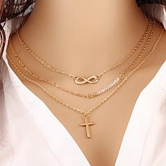 Γυναικεία Κρεμαστά Κολιέ Cross Shape Άπειρο Επιχρυσωμένο Κράμα Μοντέρνα Πολυεπίπεδο κοστούμι κοστουμιών Κοσμήματα Για Πάρτι Καθημερινά