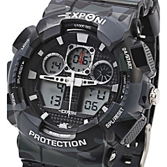 EXPONI Heren Sporthorloge Militair horloge Modieus horloge Polshorloge KwartsLED LCD Kalender Chronograaf Waterbestendig Dubbele
